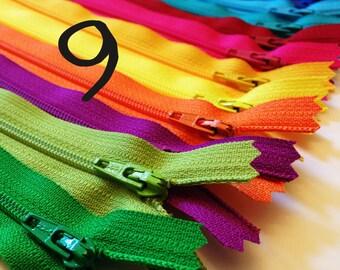 9 inch zippers, brights, TWELVE YKK dress zips, black, royal blue, turquoise, bright aqua, red, pink, yellow, orange, yellow, fuchsia, green