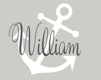 Anchor Name Decal Set, Children Baby Nursery, Vinyl Wall Decal, Nautical Nursery Decor, Wall Art, Anchor Wall Stickers
