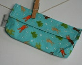 Reusable eco friendly washable Snack Bag - frogs on blue