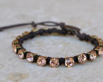 Rhinestone Wrap Bracelet - Trendy - Stacking - Single Strand - Button Closure - Flaunt in Sand by SplendorVendor on Etsy