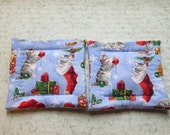 kitties in christmas stockings set of 2 potholder hot pads