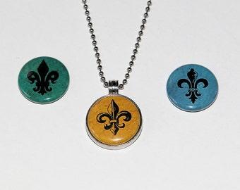 Fleur-de-lis - Magnetic Pendant Necklace - with 3 inserts
