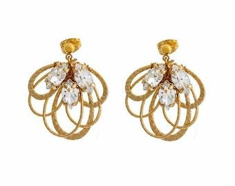 Gold loop earrings, rhinestone, bridal, vintage, Art Deco, bridesmaid jewellery, marquise