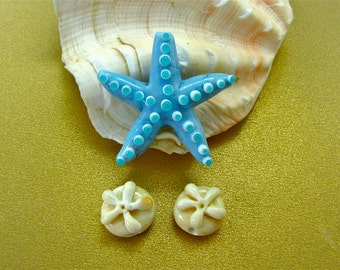 Starfish and Sand Dollar Lampwork Beads SRA