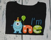 PERSONALIZED I'm One Monster Birthday Shirt  Monogrammed