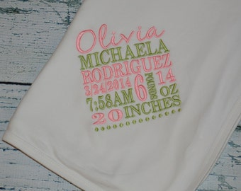 Personalized Baby Announcement Receiving Blanket Birth Stats
