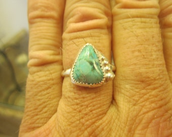 Sterling Silver Turquoise Ring - Size 9 - FREE RESIZING