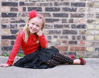 Black Red and Silver Polka Dot Girl Leg Warmers Sale