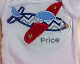 Airplane Embroidered Bodysuit