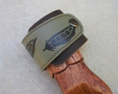 Pea Pod Leather Wrap Cuff Bracelet - Dark Brown And Olive Green Leather - Adjustable