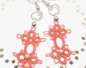 Tatted Lace Earrings with Swarovski pearls -Grace MTO many color options