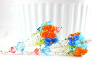 Floral Earrings, Tropical Jewelry, Aqua Blue Orange Earrings, Lampwork Earrings, Colorful Nature Jewelry, Glass Flower Earrings - Key West