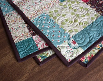 baby quilt or wall hanging // gender neutral baby gift in brown teal and red // READY TO SHIP