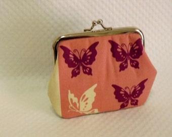 Coin purse - Change Purse - Butterflies Patchwork Coin Purse - Patchwork Change Purse