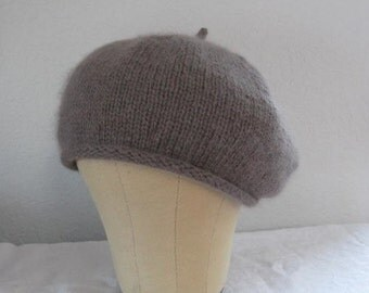 Cocoa Brown Beret. Extra Fine Merino Wool and Angora. Hand Knit Tam. Fall and Winter Accessories.