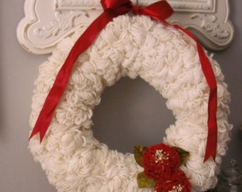 Vintage handmade WHITE loop Yarn Wreath .. with vintage Red Millinery Flowers Christmas Holiday