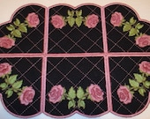 Machine Embroidery Design-ITH- Rose - Doily/Candle Mat/Runner/Place mat includes 2 sizes!