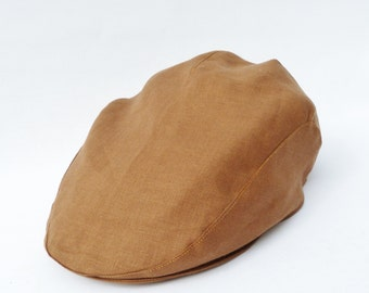 Mens Flat cap - Cocoa Brown Irish Linen