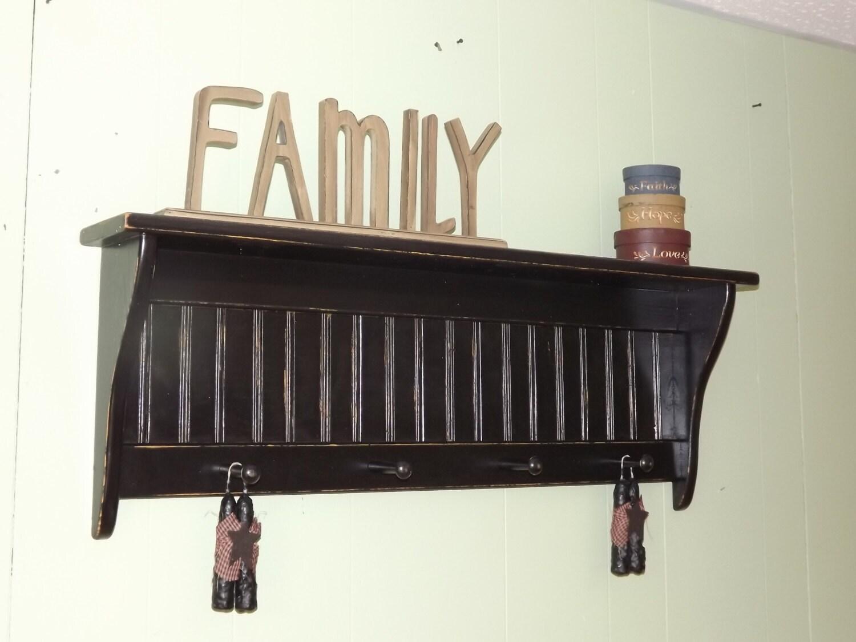 rustic wood wall shelf shaker style country coat rack 36. Black Bedroom Furniture Sets. Home Design Ideas