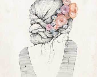 Flowers in her hair - 8x10 art print