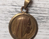 Our Lady French vintage medal, Virgin Mary medal