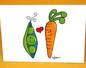 Peas and Carrots Blank Note Card w/ Astro Bright Envelope