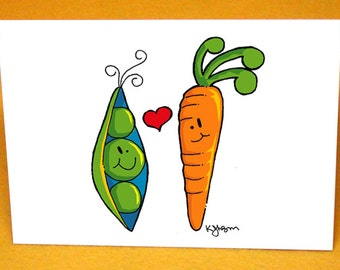 Peas and Carrots Blank Greeting Card w/ Astro Bright Envelope