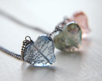 Minimal Faceted Heart Necklace Minimalist Faceted Crystal Pendant - Your Choice - Pure.