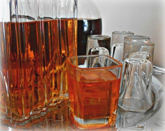 Fake Shotglass of Whiskey Whisky Square Glass Faux Photo Staging Prop
