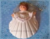 Scallops Shell Memorial Angel Ornament  In Loving Memoy Keepsake