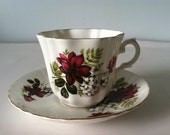 Royal Grafton Bone China Tea Cup and Saucer England Red and White Flowers