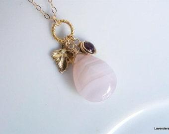 Valentine, Rose Quartz Necklace , Garnet  and Leaf  Necklace , Love Gemstone Necklace , Gold Necklace , Valentine's Day