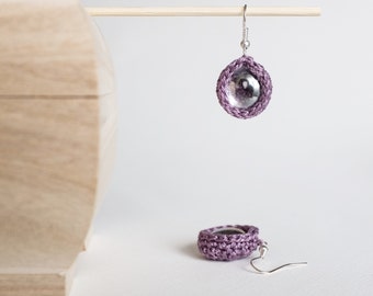 Glass Drop Crochet Earrings Modern Minimal Style Earrings Dangle Orchid Earrings