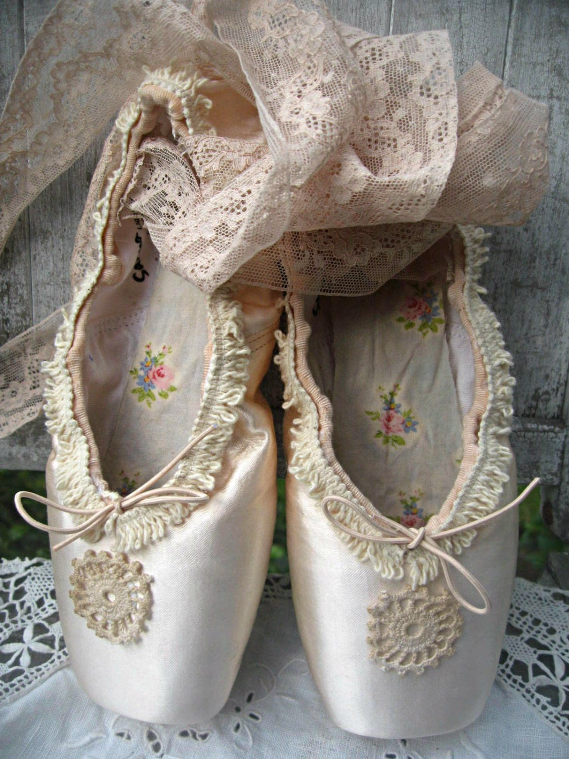 Altered Ballet Pointe Toe Shoes Distressed Vintage French