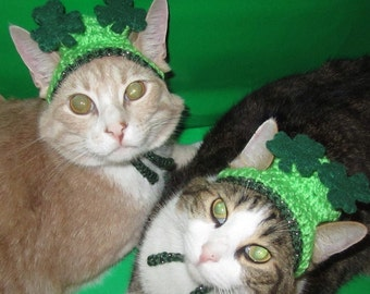 FLOATING SHAMROCKS - St PATRICKS Day dog hat - Humorous - 2 to 20 lb pets- made to order