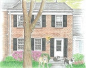 Custom Illustrated House Portrait 8x10 -include your pet!