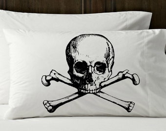 Two Black SKULL and crossbones pirate NAUTICAL Ship's theme cross bones danger poison ocean steam punk rockabilly Anchor PILLOWCASE pillow
