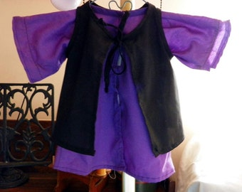 Amish Doll Purple  Dress and Black  Apron on Metal  Hanger. Handmade