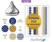 DIY editable printable stickers for candy (No.k25) boy baby shower favors polka dot chevron navy gold Digital File