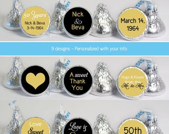 mini candy stickers (No.k57) 50th anniversary favors gold personalized labels