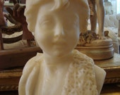SALE Vintage Shabby Alabaster Marble Bust Boy Victorian As-Is