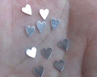 Tiny Sterling Silver Hearts(10 or 20 hearts) - You choose which style and quantity