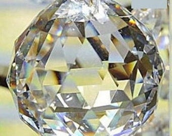 1 Asfour Lead Crystal Ball  70mm Clear Crystal Ball Chandelier Crystal Prism - Faceted Crystal Ball (S-18)