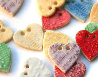 Cute Heart Button - Valentines Day Crafts - Ceramic Button - Fastener for Sewing - Embroidery - Price is per heart button - UK Seller