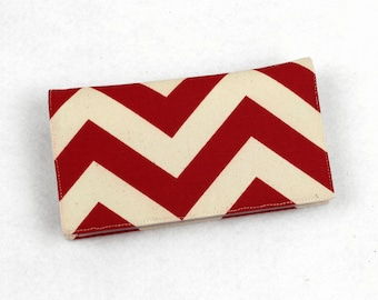 Chevron Fabric Checkbook Cover, Duplicate Checks, Pen Holder, Green, Blue, Red, Navy, Gold