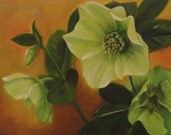 Original Oil Painting Apple Green touched with Ivory Hellebore Flowers