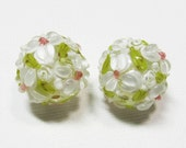 LOOSE BEADS - Lampwork Glass Art Beads - White, Berry Pink, and Chartreuse Green Fancy Flower Rounds (2 beads) - gla733