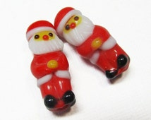 LOOSE Lampwork Glass Beads - Red Santa Clause (2 beads) - gla606