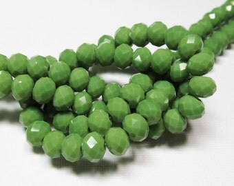 LOOSE Glass Crystal Beads - 6x8mm Rondelles - Opaque Lime Green (10 beads) - gla695
