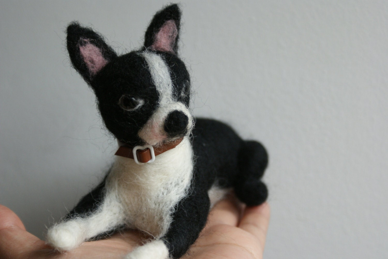 Ooak Needle Felted Black And White Boston Terrier By Kom2c